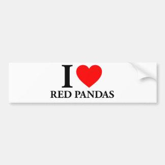 Amo pandas rojas pegatina para auto