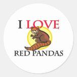 Amo pandas rojas pegatinas redondas