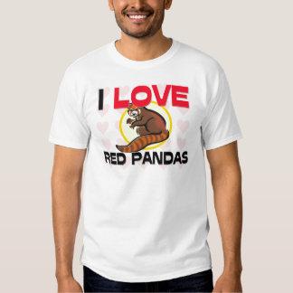 Amo pandas rojas playera