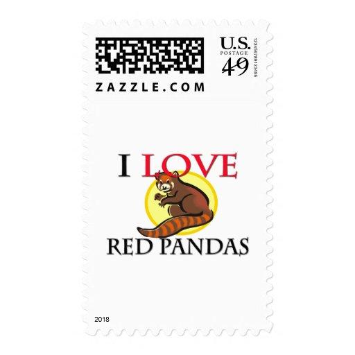 Amo pandas rojas sellos