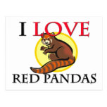 Amo pandas rojas tarjeta postal