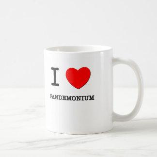 Amo pandemónium taza básica blanca