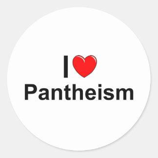 Amo panteísmo (del corazón) pegatina redonda