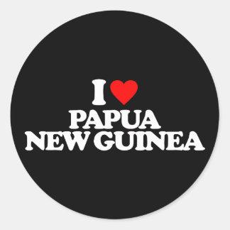 AMO PAPÚA NUEVA GUINEA PEGATINA REDONDA