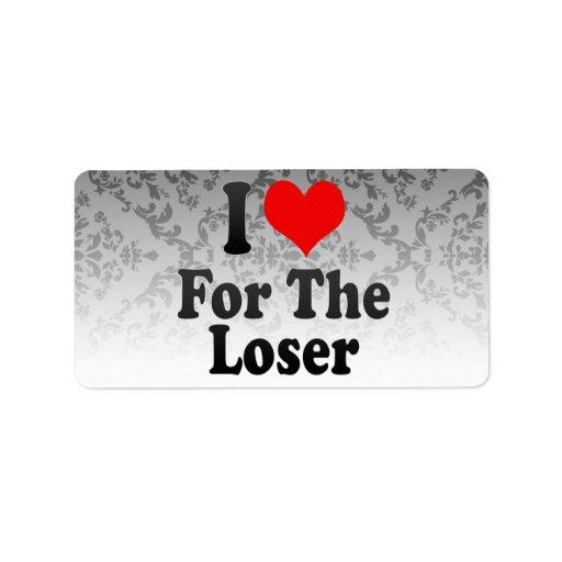 Amo para el perdedor etiquetas de dirección