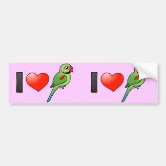 Amo Parakeets del Alexandrine Pegatina Para Auto