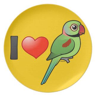 Amo Parakeets del Alexandrine Plato