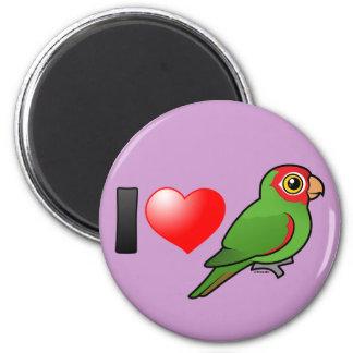 Amo Parakeets Rojo-enmascarados Imán Redondo 5 Cm