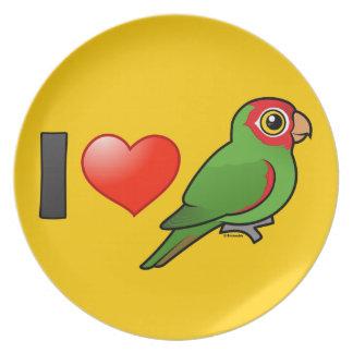 Amo Parakeets Rojo-enmascarados Plato