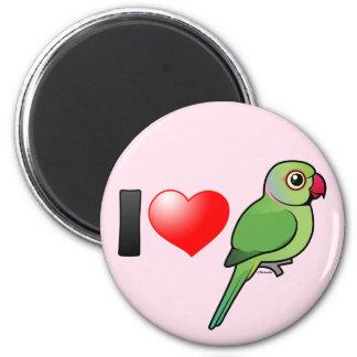 Amo Parakeets Rosa-anillados Imán Redondo 5 Cm