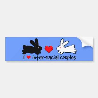 Amo pares interraciales etiqueta de parachoque