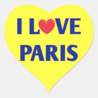 Amo París, colores franceses de la bandera Pegatina En Forma De Corazón
