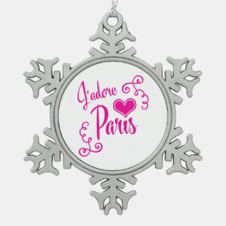 Amo París - estilo del vintage de J'adore París Adorno De Peltre En Forma De Copo De Nieve