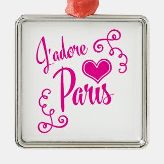 Amo París - estilo del vintage de J'adore París Adorno Cuadrado Plateado