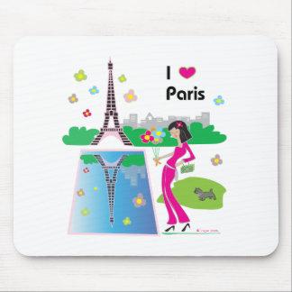 Amo París, Francia Alfombrilla De Ratón