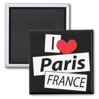 Amo París Francia Imán Cuadrado