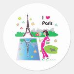 Amo París, Francia Pegatina Redonda