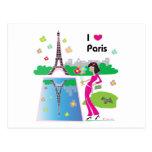 Amo París, Francia Tarjeta Postal