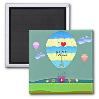 Amo París, globo colorido del aire caliente Imán Cuadrado