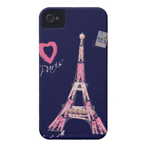 Amo París iPhone 4 Fundas