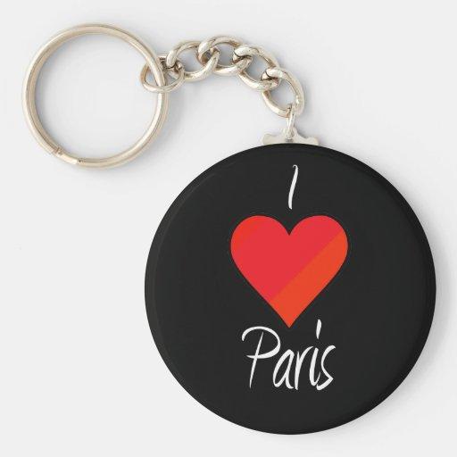 Amo París Llavero Redondo Tipo Pin