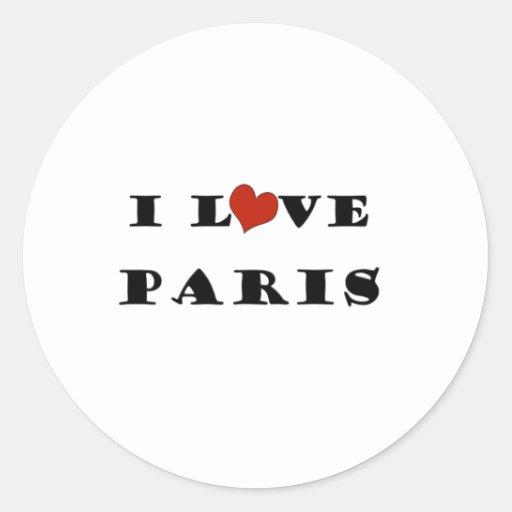 Amo París Pegatina Redonda