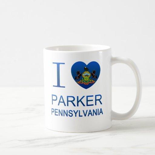 Amo Parker, PA Taza Básica Blanca
