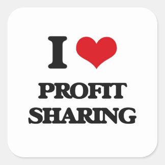 Amo participación en los beneficios pegatina cuadrada
