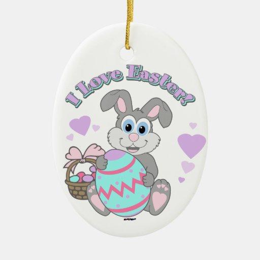¡Amo Pascua! Conejito de pascua Adorno Navideño Ovalado De Cerámica