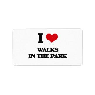 Amo paseos en el parque etiqueta de dirección