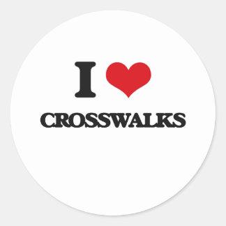 Amo pasos de peatones pegatina redonda