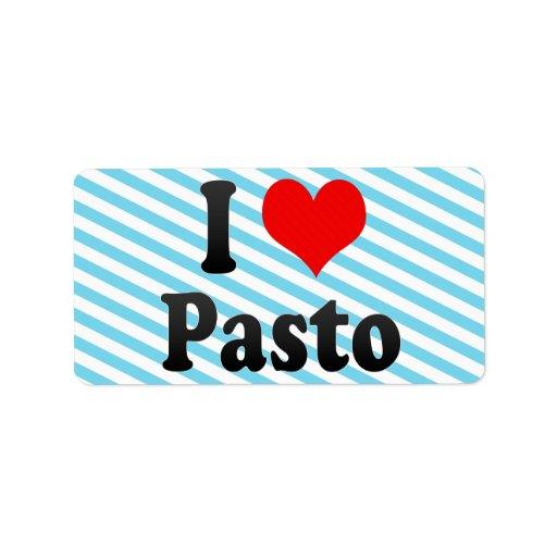 Amo Pasto, Colombia Etiqueta De Dirección