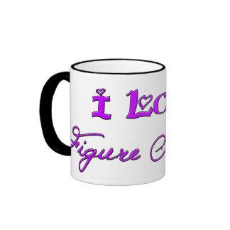 Amo patinaje artístico (la púrpura) taza de dos colores