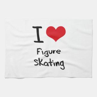Amo patinaje artístico toalla de mano