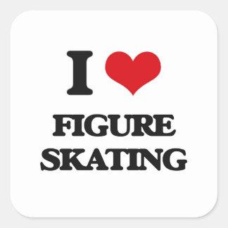Amo patinaje artístico calcomania cuadrada personalizada