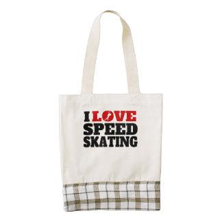 Amo patinaje de velocidad bolsa tote zazzle HEART