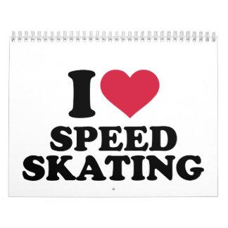 Amo patinaje de velocidad calendario de pared