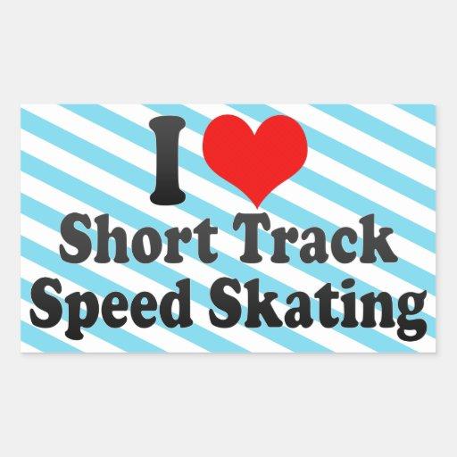 Amo patinaje de velocidad corto de la pista pegatinas