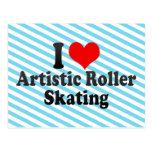 Amo patinaje sobre ruedas artístico postal