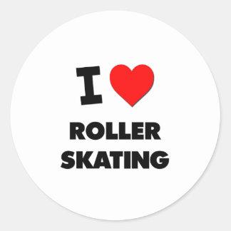 Amo patinaje sobre ruedas pegatinas redondas