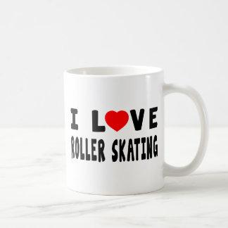 Amo patinaje sobre ruedas tazas de café