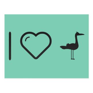 Amo patos del flamenco tarjeta postal