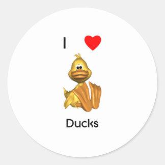 Amo patos pegatina redonda