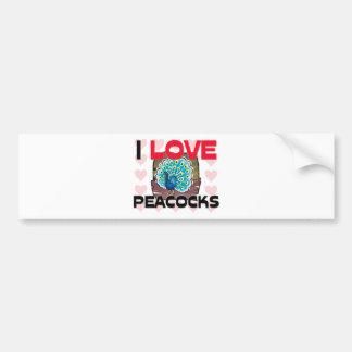Amo pavos reales etiqueta de parachoque