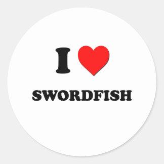Amo peces espadas pegatina redonda