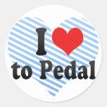 Amo Pedal Pegatinas Redondas
