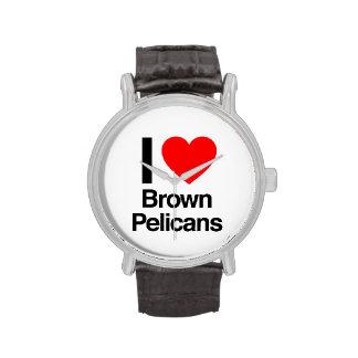 amo pelícanos marrones reloj de mano