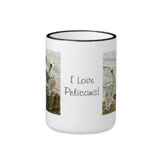 ¡Amo pelícanos! Taza de café