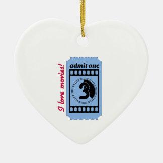 Amo películas adorno navideño de cerámica en forma de corazón