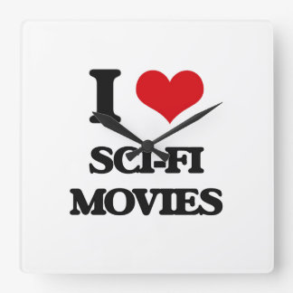 Amo películas de la ciencia ficción reloj cuadrado